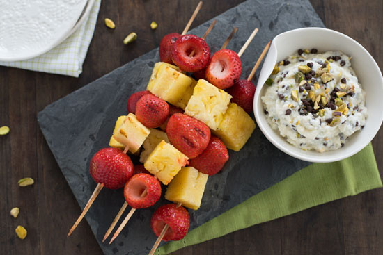 Grilled Fruit Kabobs with Cannoli Dip