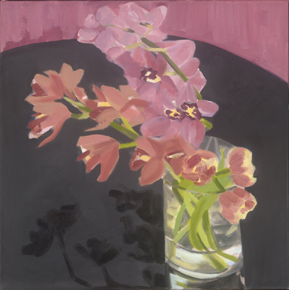 Orchids and Tulips, oil on canvas, 46 x 45.5 cm (sold)