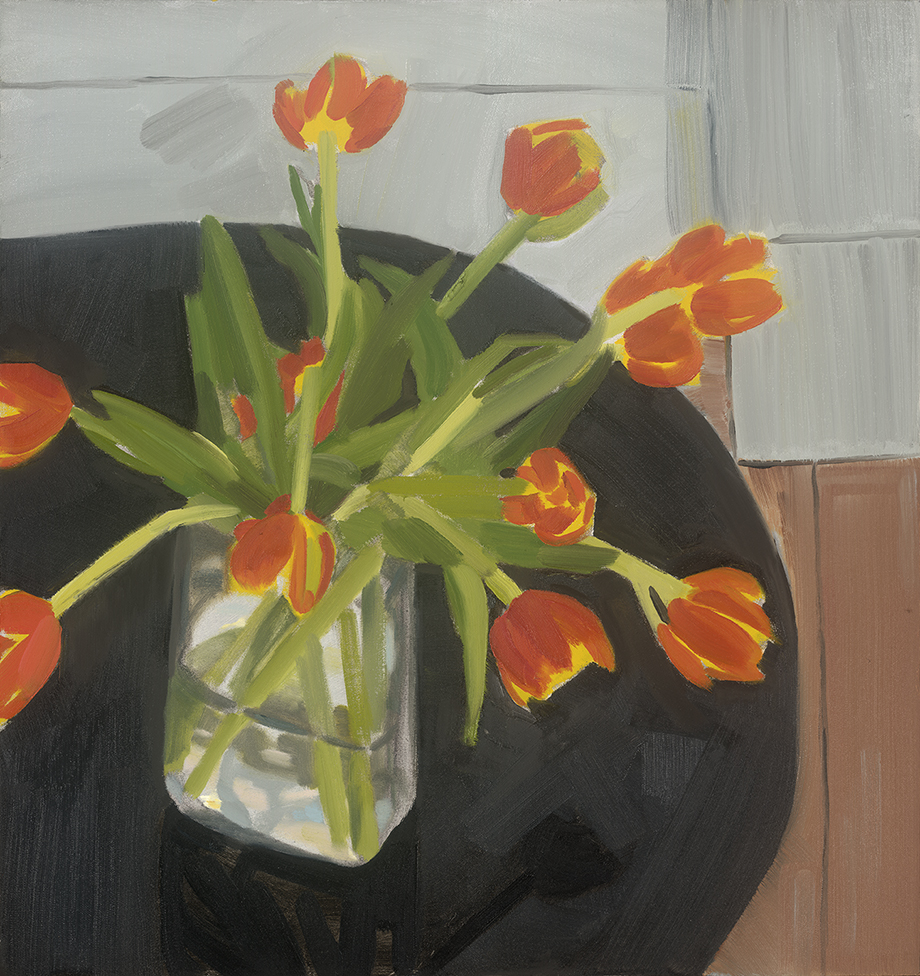 Tulips and Black Table, oil on board, 51 x 48 cm (sold)
