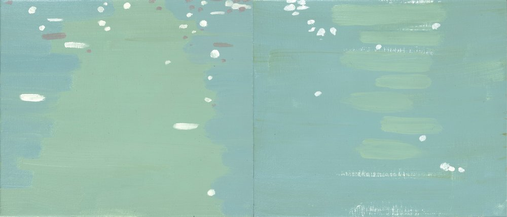 Light and Water, (Diptych), 2016, oil on linen, 30 x 71 cm