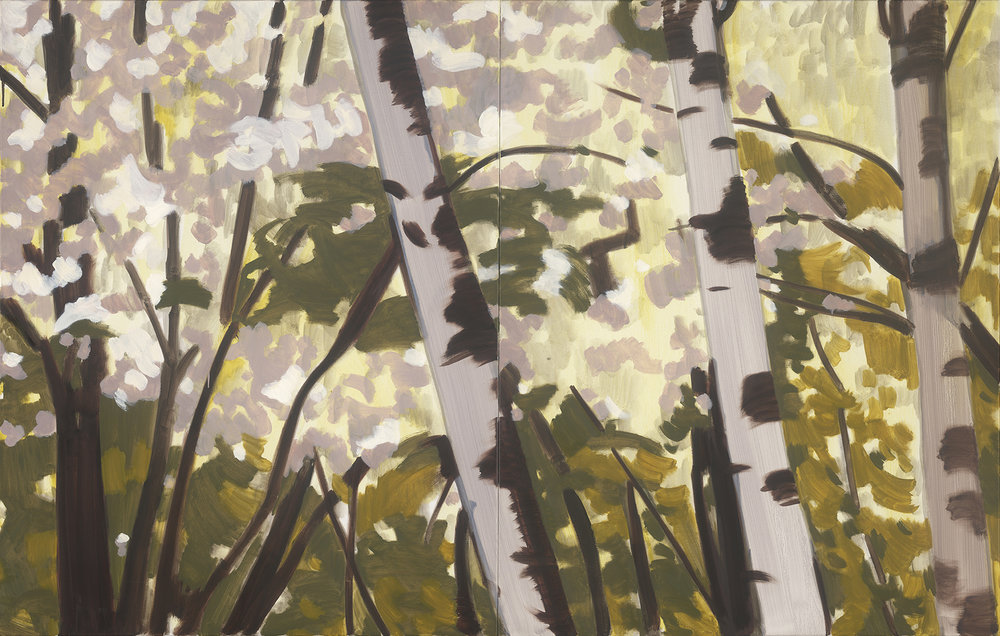 Birch Blossom Forest, (Diptych) oil on linen, 107 x 167 cm