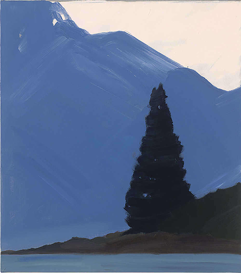 Tree,Mountain,Lake, oil on canvas, 45x40 cm (sold)