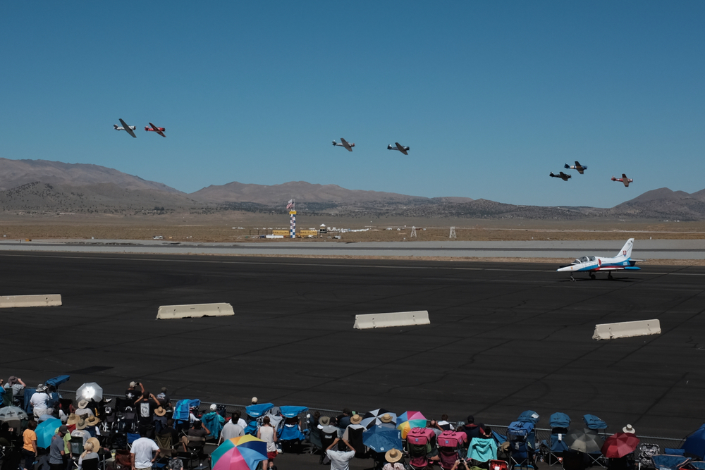 Start of the T6 qualifying race. Reno Stead Airport, National Championship Air Races 2015