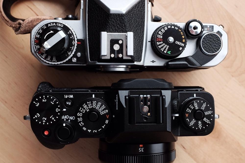 Nikon FE2 next to Fuji XT1