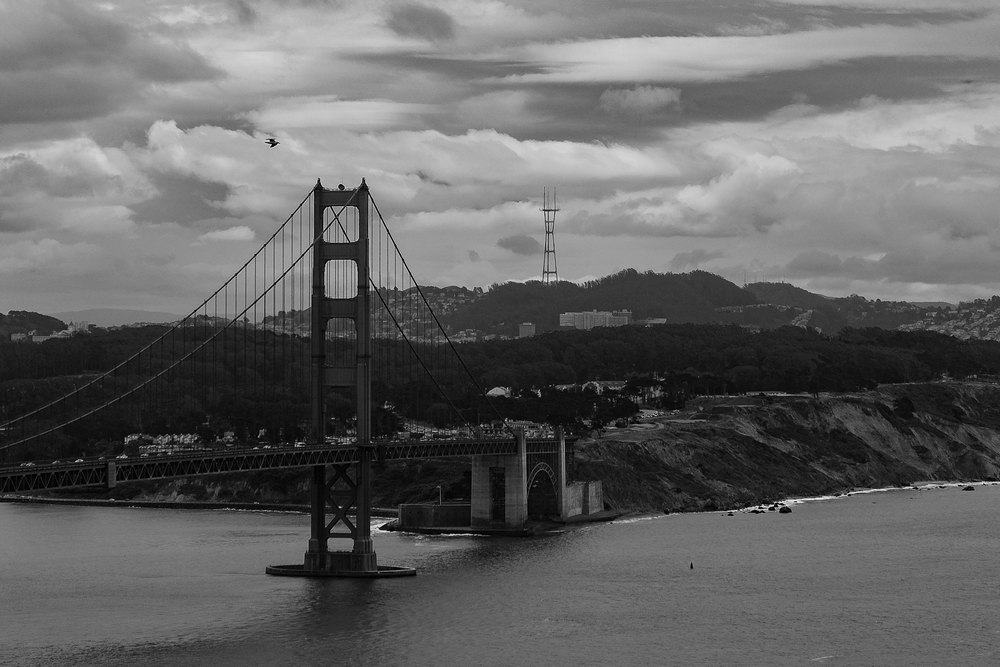South Tower of the Golden Gate Bridge, taken from the Marin Headlands. June, 2016