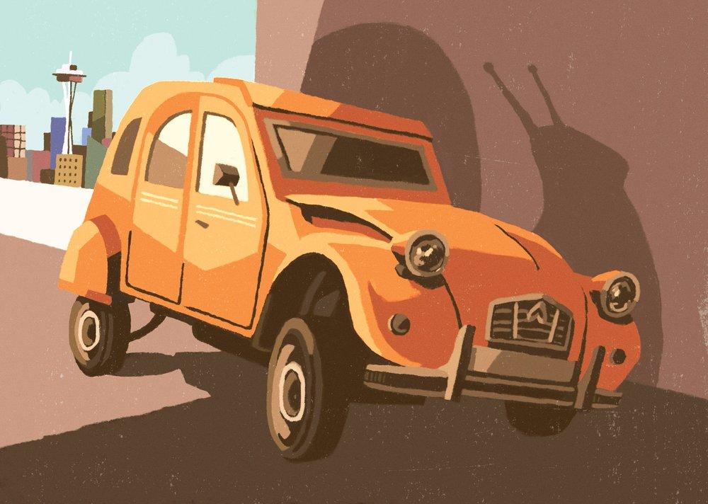 Snail Car Editorial Illustration for Road & Track Magazine