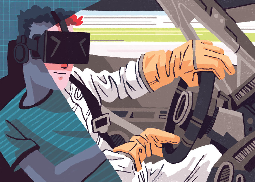 Virtual Reality Racing  Editorial Illustration for Road & Track Magazine