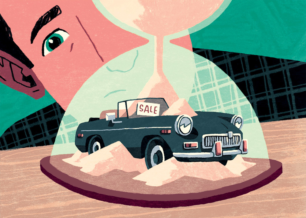 Craig's List Car Buyer  Editorial Illustration for Road & Track Magazine