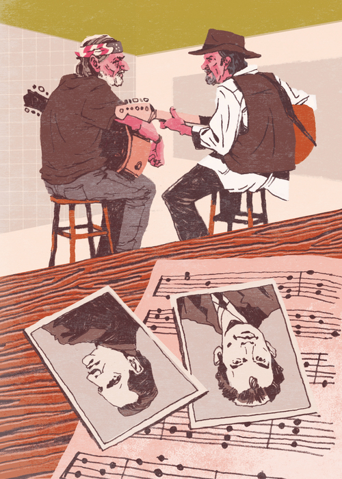 Willie Nelson & Merle Haggard Editorial Illustration for NASH Country Weekly