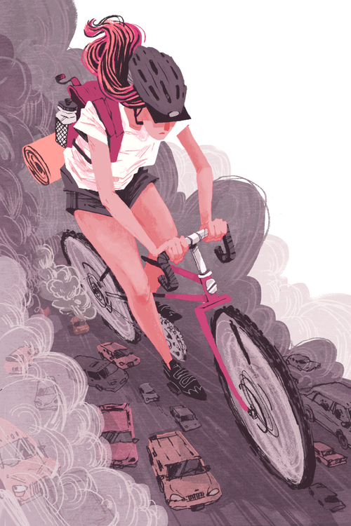 Share the Road  Self-directed Illustration