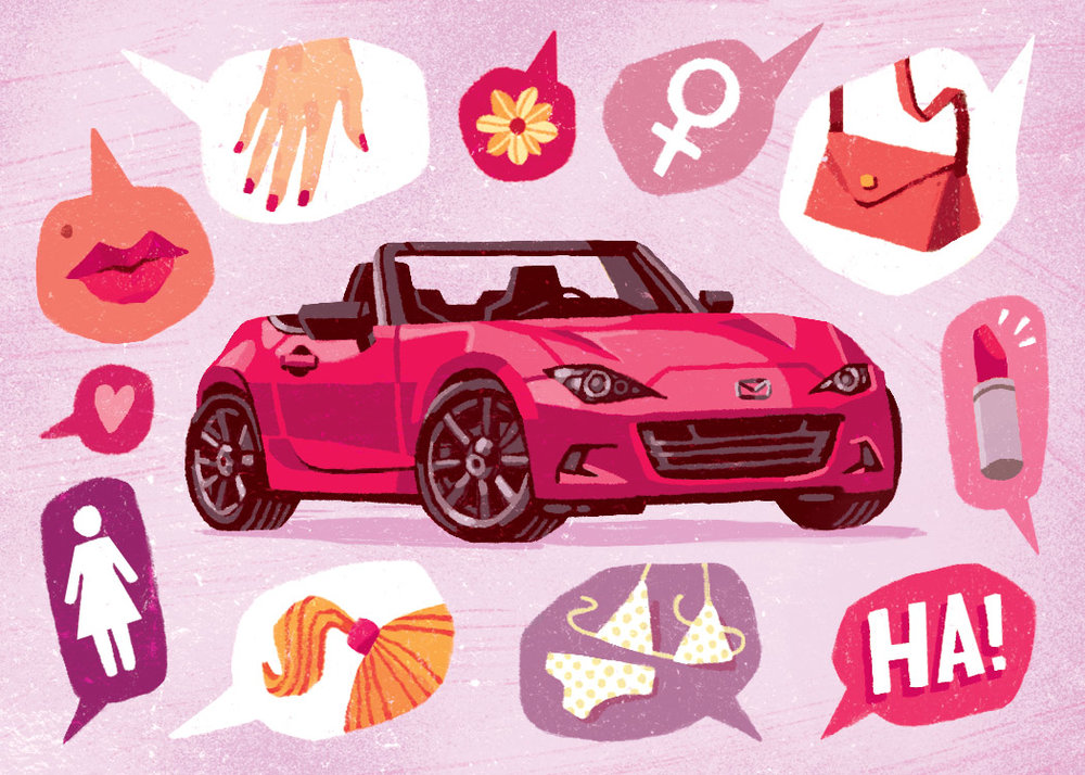 Mazda Miata Editorial Illustration for Road & Track Magazine