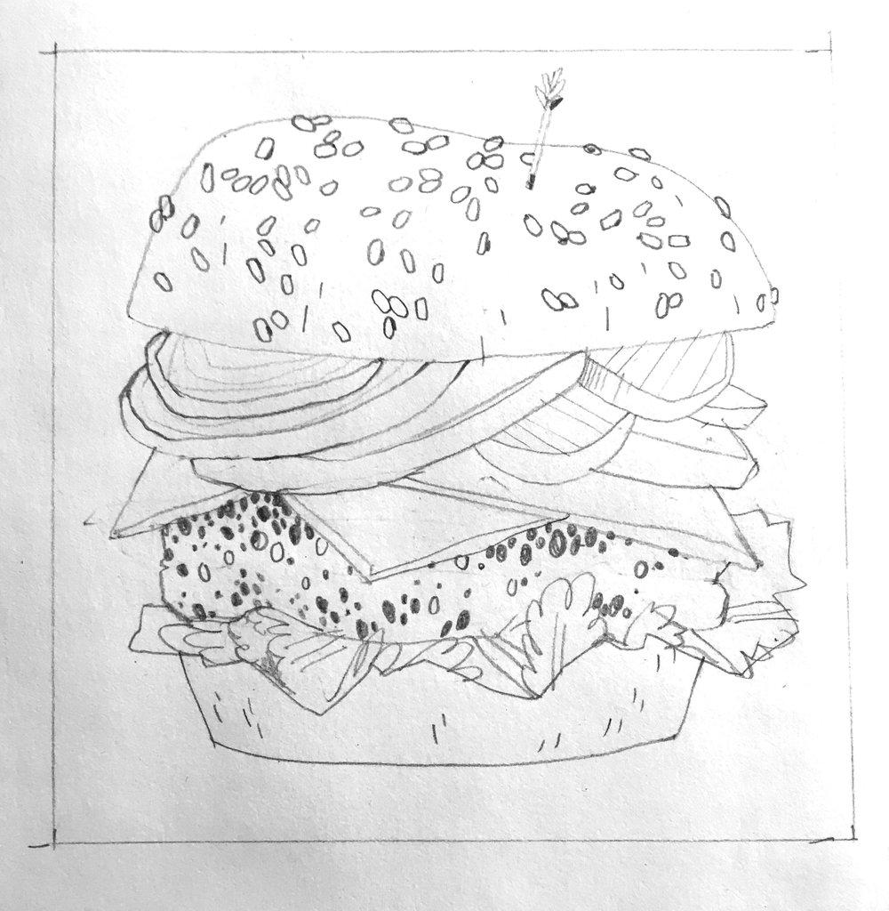 classic burger sketch