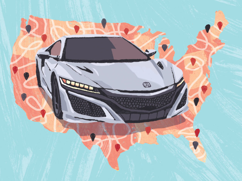 Performance Car of the Year 2017:Acura NSX  - Editorial illustration for Road & Track Magazine