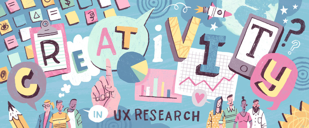 Creativity in UX Research - Banner illustration and spots for online published article.