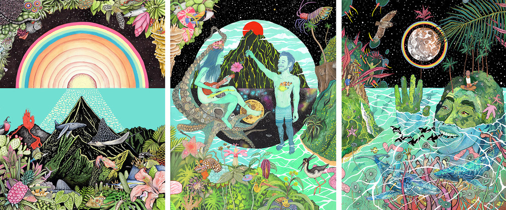 The official World Oceans Day Hawai'i 2014 poster triptych by Aaron Glasson and Celeste Byers.