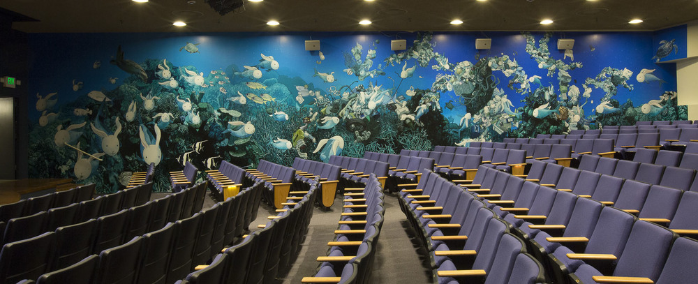Custom on-site mural at the Doris Duke Theater by Kozyndan for World Oceans Day Hawaii 2015