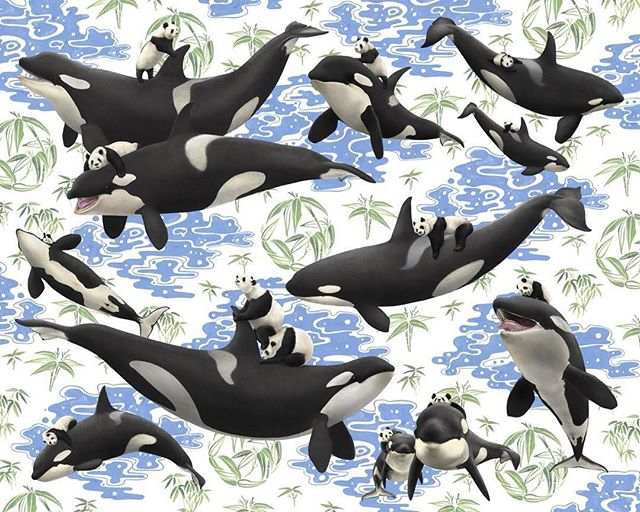 Available Now - Captives: Orcas'n'Pandas by @kozyndan! We are so excited to be offering this third print in the Animal Odd Couples series!  Proceeds raised through the sale of this print support ongoing @PangeaSeed efforts to help save our seas through ARTivism.  Head over to shop.pangeaseed.org or profile link to secure yours!  #orcas #killerwhale #kozyndan #emptythetanks #blackfish #dontbuyaticket #saveourseas #protectwhatyoulove #pangeaseed #art #pandas #endangered #amazing #animals