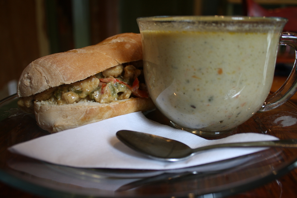 Chicken Philly Cheese-steak w/ Green Vegetable Bisque