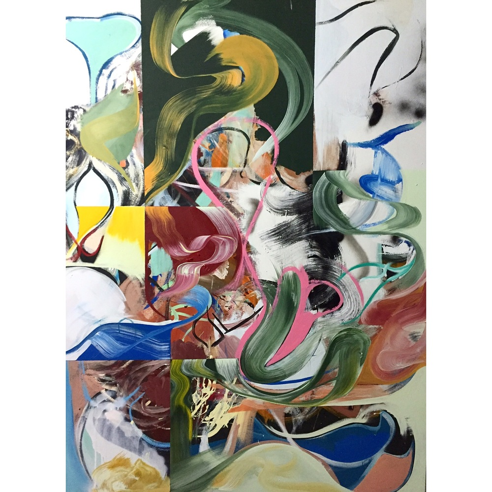 Acrylic, Oil Stick, and Spray Paint on Canvas  63 x 47 in  160 x 120 cm