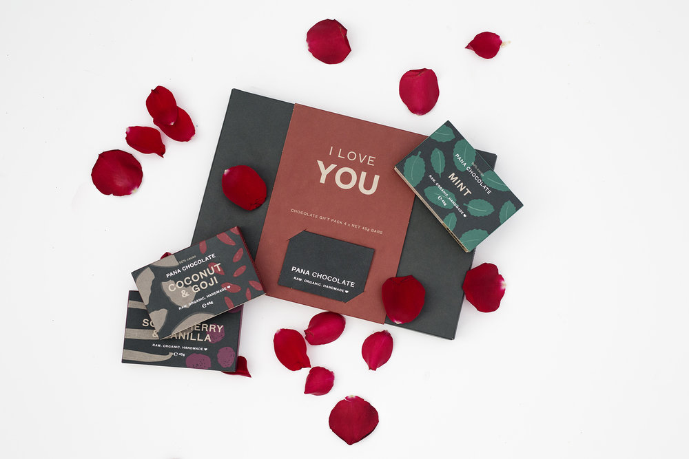 "PANA CHOCOLATE "" I LOVE YOU"" 4 PACK 4 ASSORTED FLAVOURS 45GMS EACH $30.00"