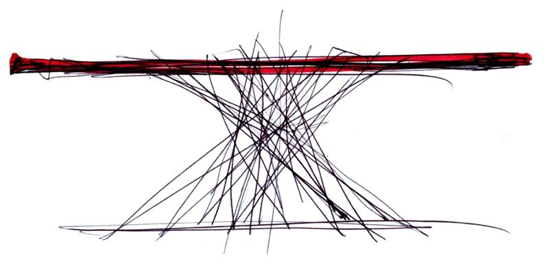 Sketch by Bartoli Design of their Octa table for Bonaldo.