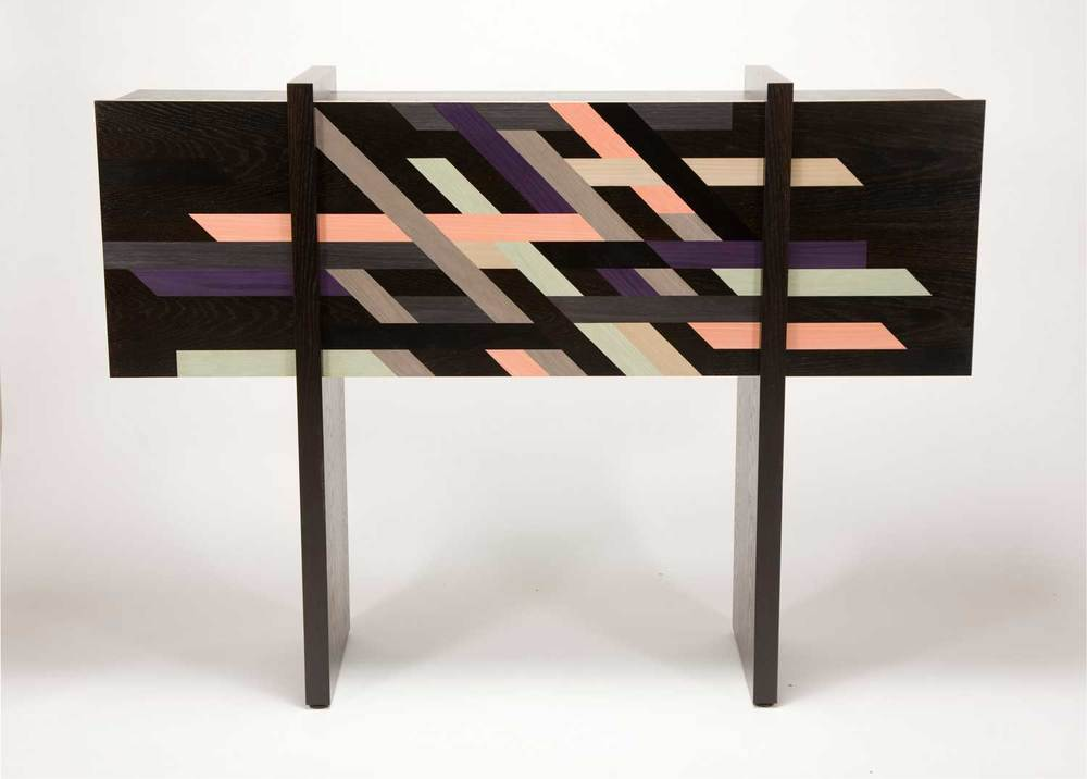 Patternity's collaboration with Toby Winteringham: a modern marquetry cabinet. Released at LDF 2011.