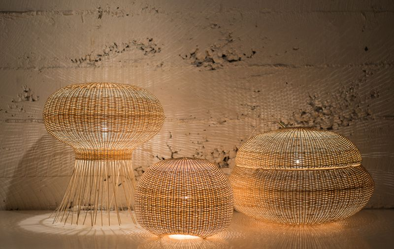 'Medusa', 'Chinita' and 'Bellota' lights designed by CKR for Made in Mimbre.