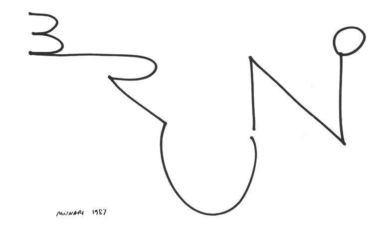 A Bruno Munari doodle from 1987 evokes the sense of playfulness that was very much a part of his philosophy.