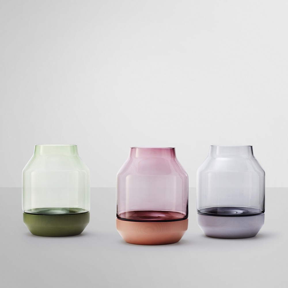 'Elevated' vases in all three colours.