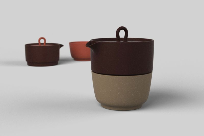 'Zisha' tea set items in ceramic produced by Neri & Hu's eponymous brand.