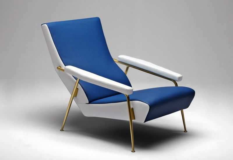 Ponti's D.153.1 in it's signature two tone blue and white leather with a satin brass frame.