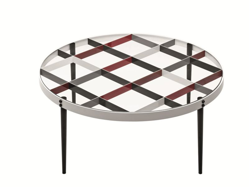 Ponti's D.555.1 'tea table' from 1954/1955 is made from painted metal with a crystal glass top.