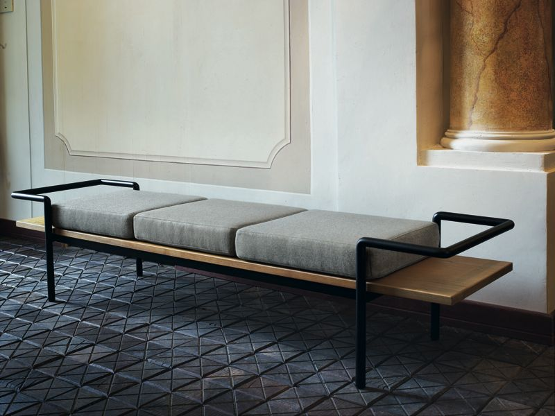 'T904' bench by Gastone Rinaldi circa 1950. Reissued by Poltrona Frau.