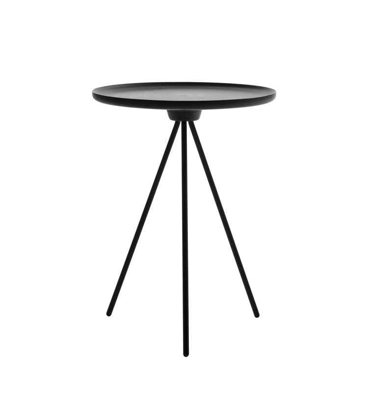 The 'Key' side table by GamFratesi for One Nordic Furniture Company. The table comes in all white, all black or in a natural turned ash top with white legs. The legs screw off for shipping.
