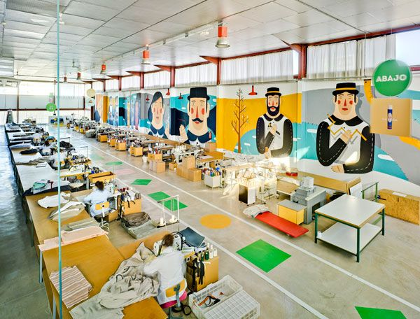 Another view of Agostino Iacurci's giant 'Ode to Craftsmanship' mural for Sancal.