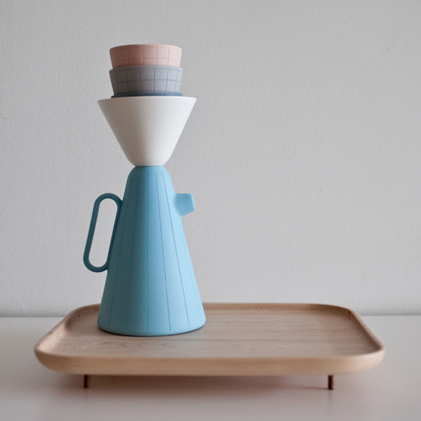Luca Nichetto and Lera Moiseeva's 'Sucabaruca' coffee set for Canadian company Mjölk. The set comes in white, pastels (shown) or colourful brights - all on a maple tray.