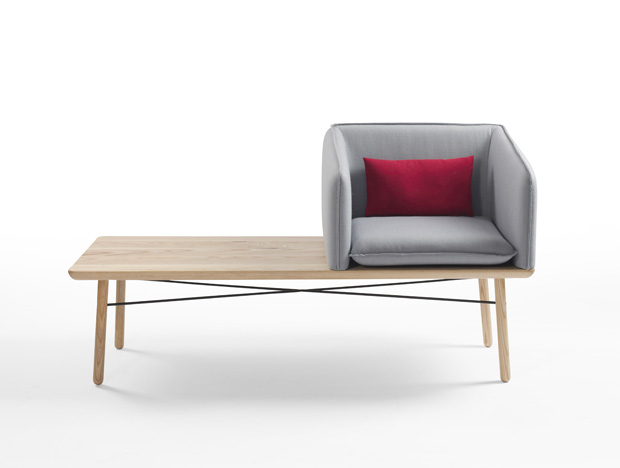 Goodrum's 'Tub' armchair bench is a delightful combination of armchair and long side table for commercial environments.