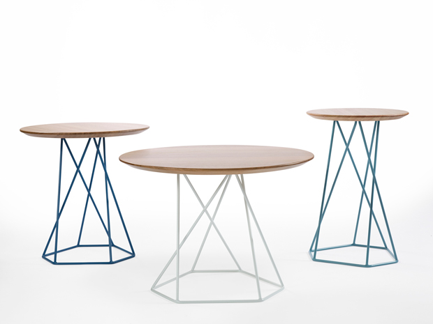 Ross Gardam's 'Asymmetry' coffee and side tables look weirdly tangled but are actually based on a precise geometric form. The tops are in solid timber.