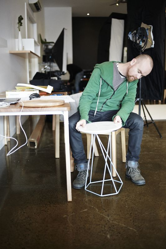 Ross Gardam and a prototype of his 'Asymmetric' stool, launched in October 2013.