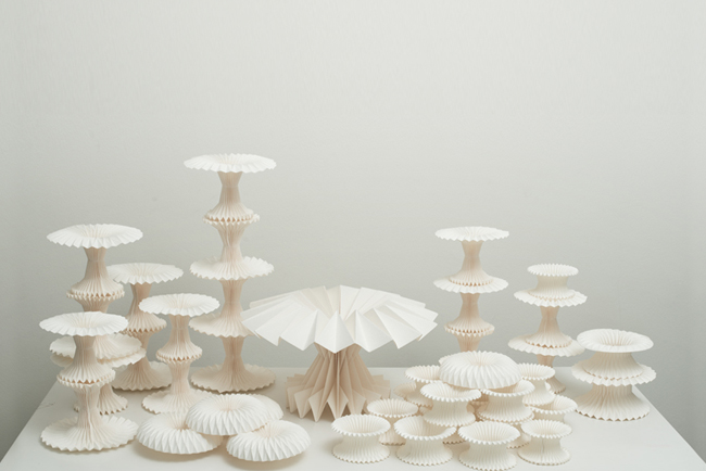 The 'Paper Pleats' collection of objects commissioned by GOLDHEART jewellery for their sister label Love Atelier.