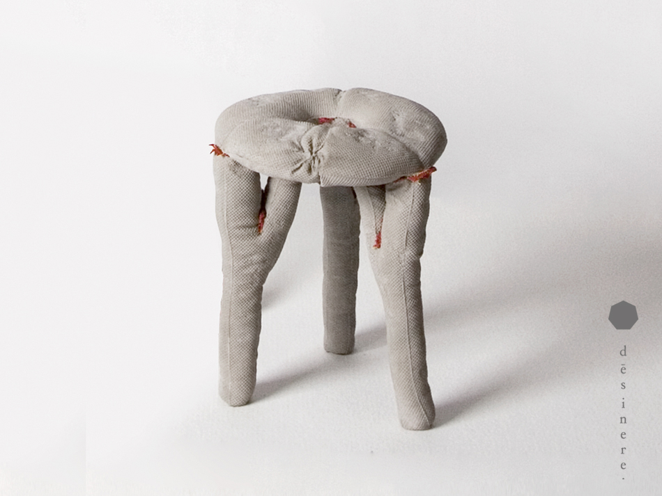 'A'Konkret' is a DIY stool design involving premixed concrete in a stool shaped fabric bag - simply add water.