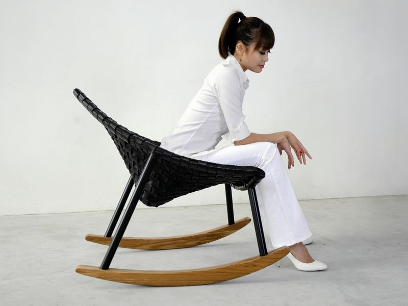 The 'Aviva'  chair from 2011 in it's rocking chair form. Manufactured by Innermost.