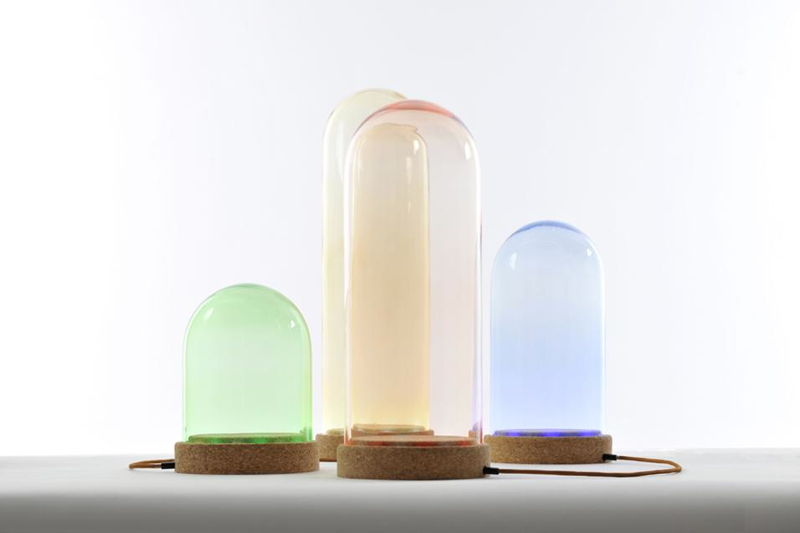 The 'Nola' LED table lights come in 4 sizes and colours - all 165mm in diameter but either 240, 320,420 or 520mm high. The base is in cork.