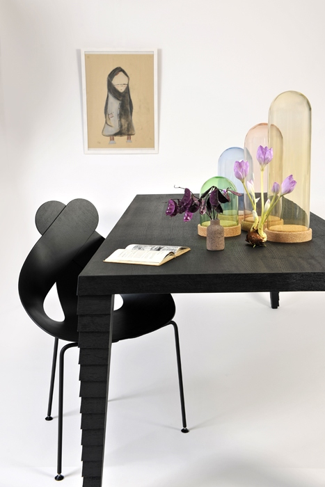 The 'Lucky Love' chair, 'Clad' table and 'Nola' lights - all from Buhtiq31.