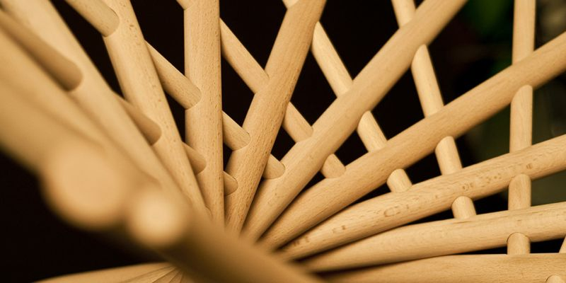 A close up of the structure of the 'Nest' armchair.