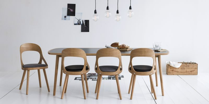 The 'Colibri' chair is now in production with Swedish company Hans K. The chair can be specified in white painted birch ply, dyed black elm or in oiled natural or white oak. A version with arms is also available.