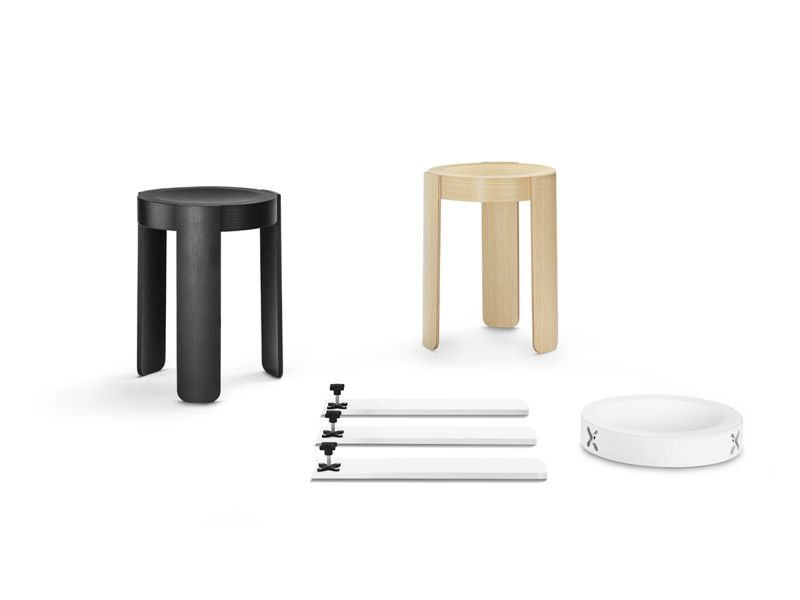 The 'Pal' stool for new FInish brand One Nordic Furniture Company, uses a beautifully machined 'X' joint that enables the stools to be shipped in a flat box but easily assembled.