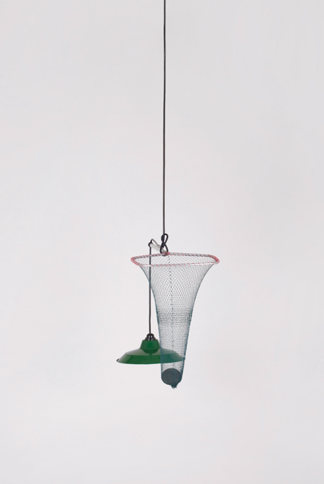 Field Experiments' 'Adhoc'  pendant light from fishing net, vintage lamp shade and stone counter-weight.