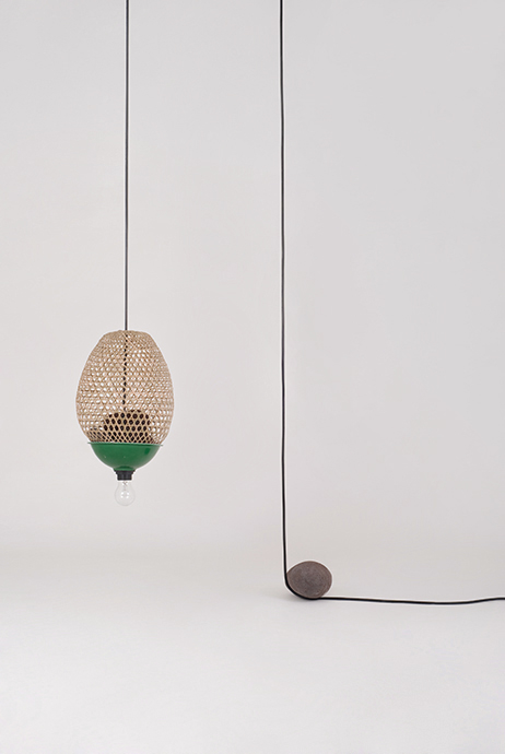 Field Experiments' 'Adhoc lamp using a woven bamboo cage and stone counter-weight.