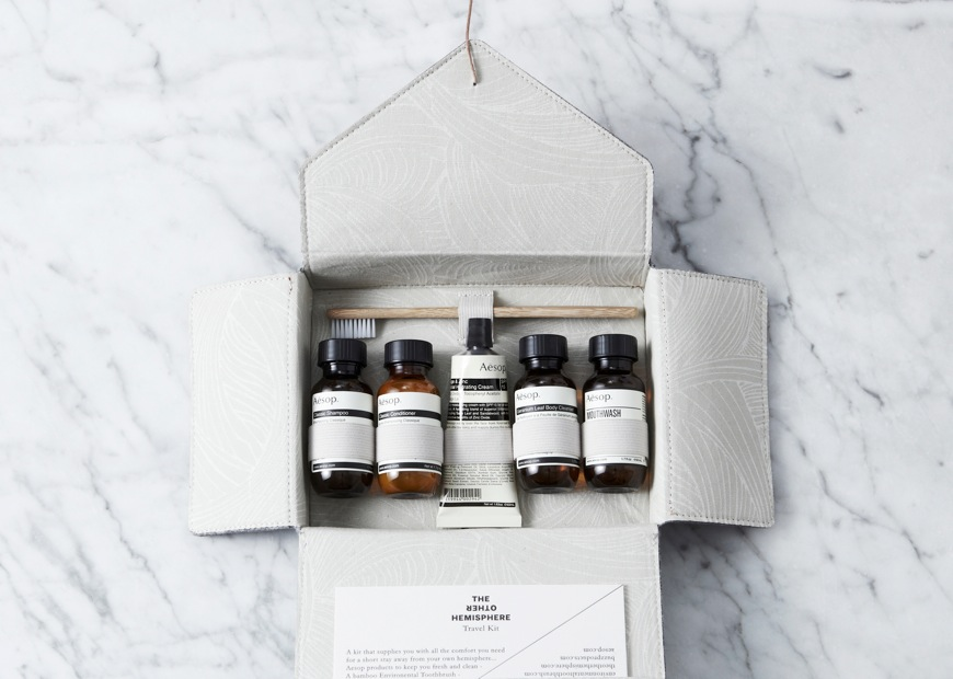 The limited edition travel kit by Aesop in collaboration with TOH features an environmental bamboo toothbrush, 5 classic Aesop products in a specially designed pack with interior fabric 'Gawaa' (river) designed by artist Lucy Simpson. It's available for $130 from the Campaign Store - www.theotherhemisphere.com